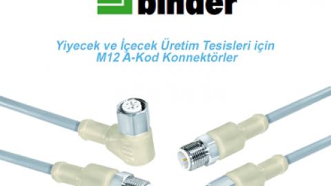 Franz Binder: Yiyecek ve İçecek Üretim Tesisleri için M12 A-Kod Konnektörler