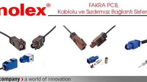 Molex: FAKRA PCB, Kablolu ve Sızdırmaz Bağlantı Sistemi